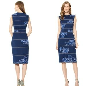 Tadashi Shoji Kitami blue floral embroidered dress